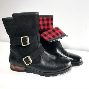 Sorel Foldover Leather Suede Plaid Booties sz 6.5